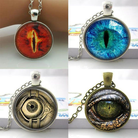 Picture of the 4 eye necklaces available.