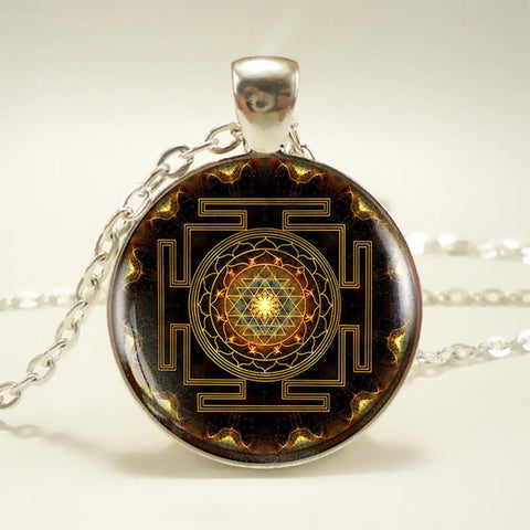 Picture of sri yantra buddhist necklace.