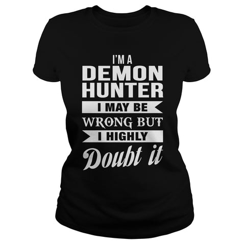 Picture of black Demon Hunter ladies t-shirt.