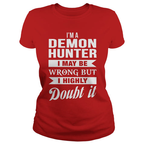 Picture of red Demon Hunter ladies t-shirt.