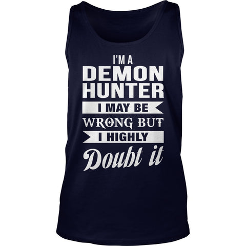 Picture of navy blue Supernatural Demon Hunter unisex tank top.