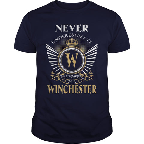 "Picture of navy blue ""Never Underestimate A Winchester"" t-shirt for guys."