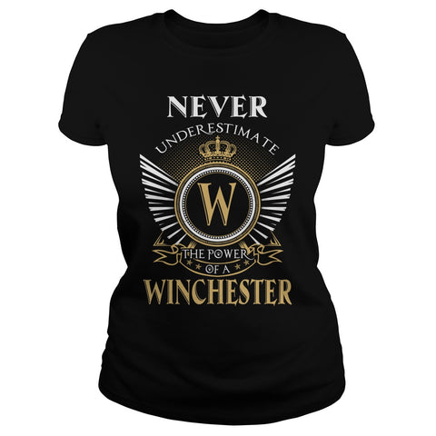 "Picture of black ""Never Underestimate A Winchester"" t-shirt for goddesses."