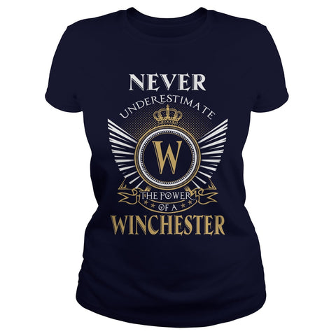 "Picture of navy blue ""Never Underestimate A Winchester"" t-shirt for goddesses."