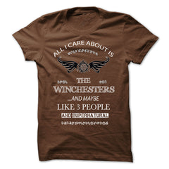 Picture of brown All I Care About Is The Winchesters t-shirt for guys.