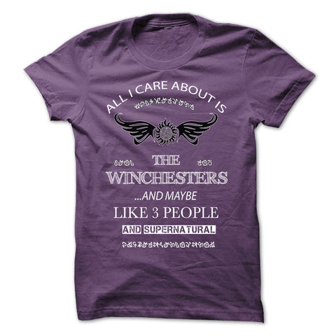 "Picture of purple ""All I Care About Is The Winchesters"" t-shirt for guys."