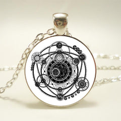 Picture of witchcraft black and white necklace.