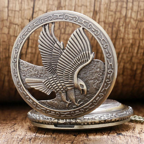 Picture of eagle pocket watch with the front cover open.