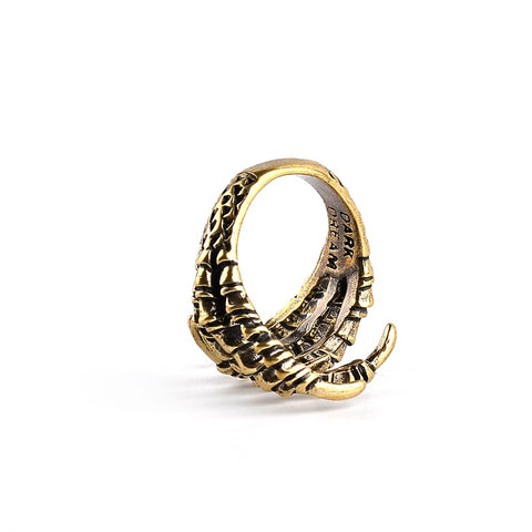 Picture of eagle claw ring upside down.