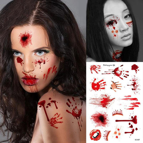 Picture of two women wearing bloody temporary tattoos.