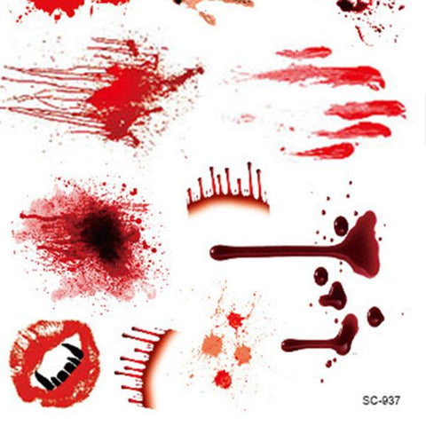 Close-up of bloody temporary tattoos.