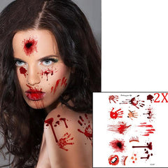 Picture of woman wearing bloody temporary tattoos.