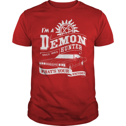 "Picture of red ""I'm A Demon Hunter"" t-shirt for guys."