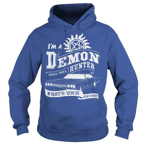 "Picture of royal blue ""I'm A Demon Hunter"" hoodie for guys."