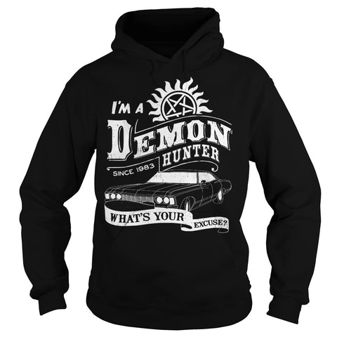 "Picture of black ""I'm A Demon Hunter"" hoodie for guys."