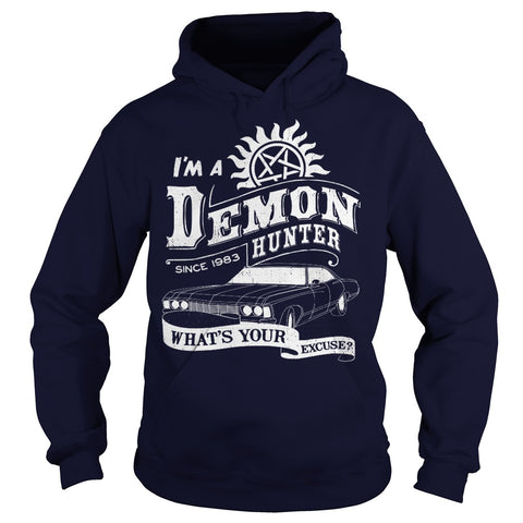 "Picture of navy blue ""I'm A Demon Hunter"" hoodie for guys."
