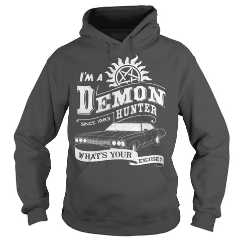 "Picture of charcoal ""I'm A Demon Hunter"" hoodie for guys."