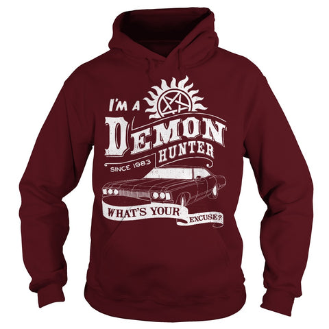 "Picture of maroon ""I'm A Demon Hunter"" hoodie for guys."