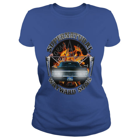Picture of royal blue Supernatural Wayward Sons ladies t-shirt.