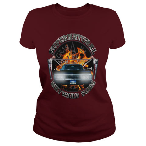 Picture of maroon Supernatural Wayward Sons ladies t-shirt.