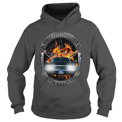 Picture of gray Supernatural Wayward Sons hoodie.