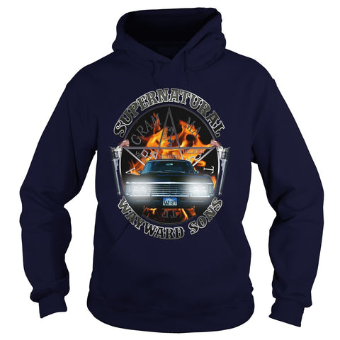 Picture of navy blue Supernatural Wayward Sons hoodie.