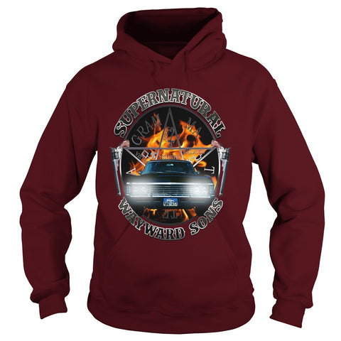 Picture of maroon Supernatural Wayward Sons hoodie.