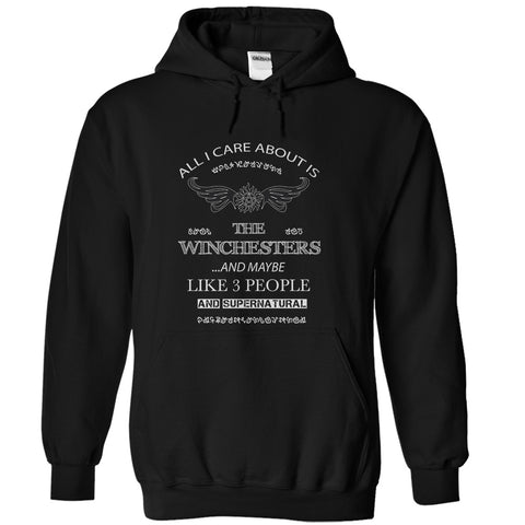 "Picture of black  ""All I Care About Is The Winchesters"" hoodie for men."