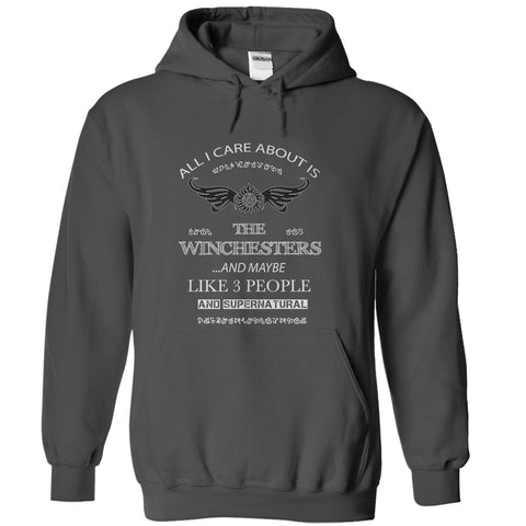 "Picture of charcoal  ""All I Care About Is The Winchesters"" hoodie for men."