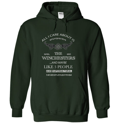 "Picture of forest  ""All I Care About Is The Winchesters"" hoodie for men."