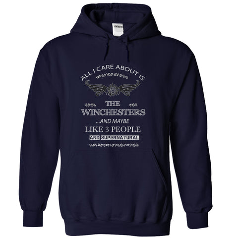 "Picture of navy blue  ""All I Care About Is The Winchesters"" hoodie for men."