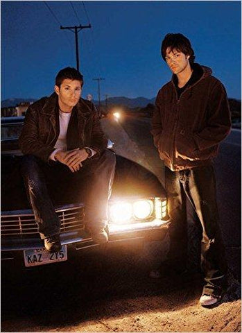 From the book, Sam and Dean beside the Impala.