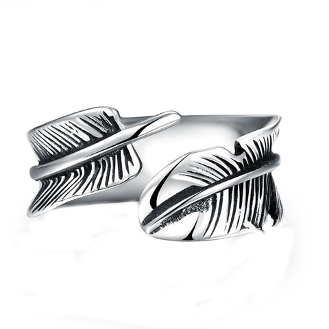 Stainless Steel Feather Ring for Guys