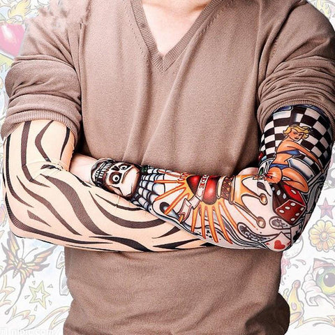 Picture of someone wearing the tattoo sleeves.