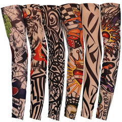 Picture of six tattoo sleeves in different designs.