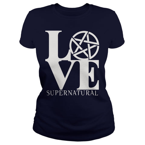 "Picture of black ""Love Supernatural"" t-shirt for goddesses."