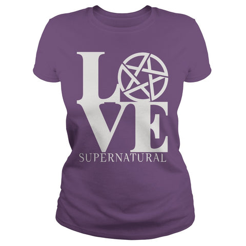 "Picture of purple ""Love Supernatural"" t-shirt for goddesses."