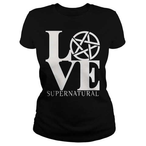 "Picture of navy blue ""Love Supernatural"" t-shirt for goddesses."