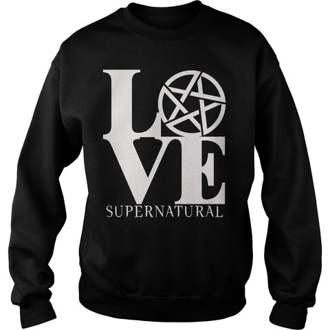 "Picture of black ""Love Supernatural"" sweatshirt for guys."