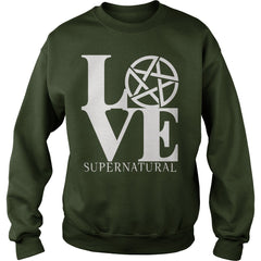 "Picture of forest green ""Love Supernatural"" sweatshirt for guys."