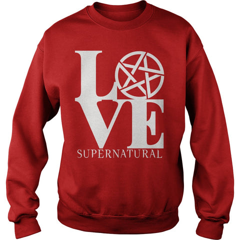 "Picture of red ""Love Supernatural"" sweatshirt for guys."