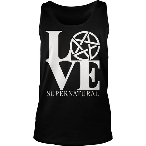 "Picture of black ""Love Supernatural"" tank top."
