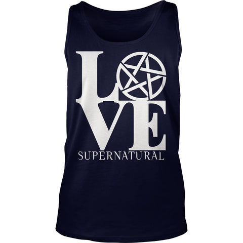 "Picture of navy blue ""Love Supernatural"" tank top."