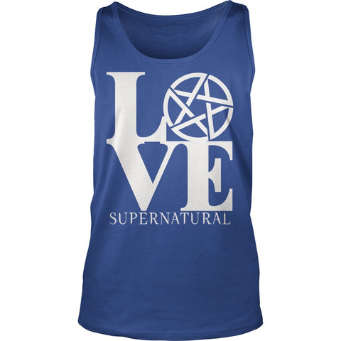 "Picture of royal blue ""Love Supernatural"" tank top."