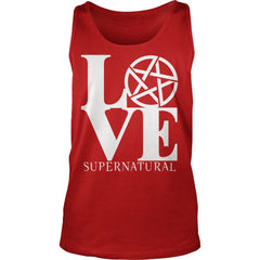 "Picture of red ""Love Supernatural"" tank top."
