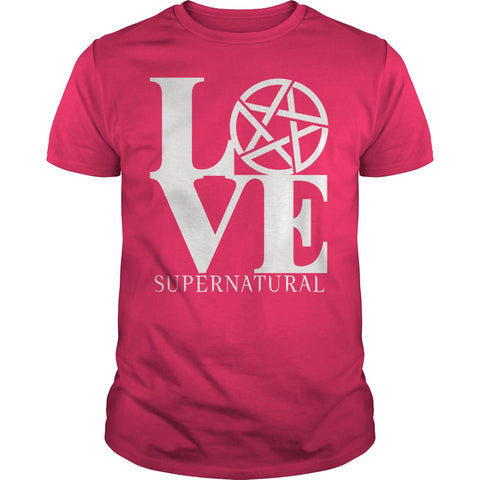"Picture of hot pink ""Love Supernatural"" t-shirt for guys."