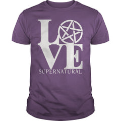 "Picture of purple ""Love Supernatural"" t-shirt for guys."