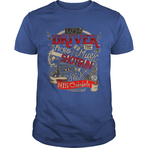 "Picture of royal blue ""Driver Picks The Music"" t-shirt for guys."
