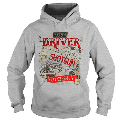 "Picture of navy blue ""Driver Picks The Music"" hoodie for guys.gray"