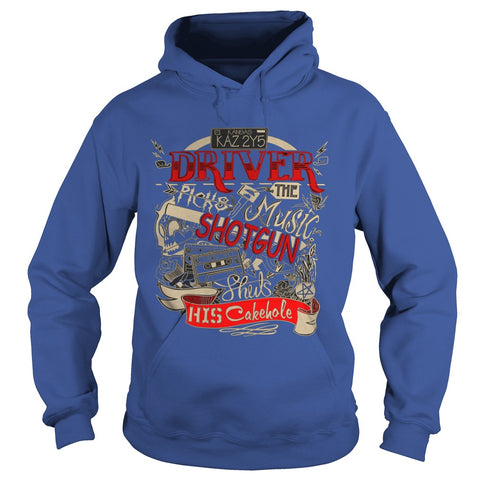 "Picture of royal blue ""Driver Picks The Music"" hoodie for guys."